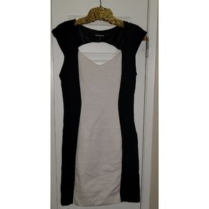 EXPRESS Bandage Fitted Black and White Dress